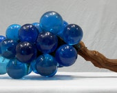 Vintage Lucite Cobalt Blue Large Cluster Plastic Grapes on Driftwood 1960s Kitsch