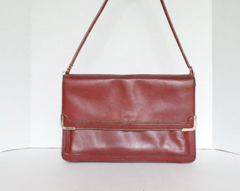 Vintage 1970's Leather Envelope Clutch, 70s Brown Leather Handbag, Large Leather Clutch Purse