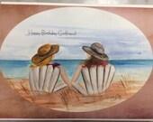 Best Friends sisterhood Happy Birthday  watercolor print card