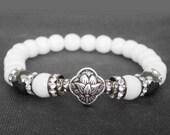White jade mala bracelet Sterling Silver lotus bracelet Wrist mala beads Meditation beads Healing bracelet Inner peace Good luck Protection