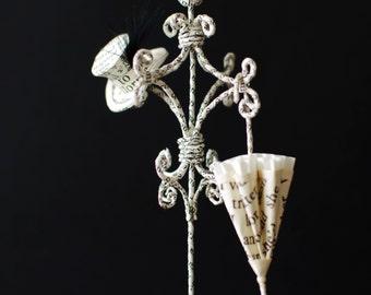 Miniature Coat Rack with tiny paper shoes, hat and umbrella - Paper Sculpture - Paper Art