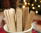 20 Snowflake Wooden cutlery   White & Silver