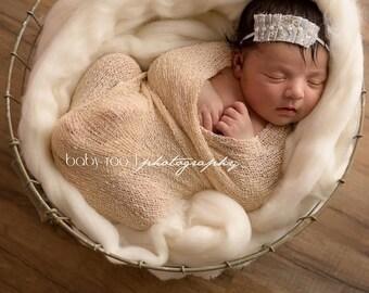 Newborn Photo Prop Set: Champagne Knit Wrap with Free Headband for Newborn Photo Shoot, Maternity Prop, Newborn Photo Wrap, Infant Photo