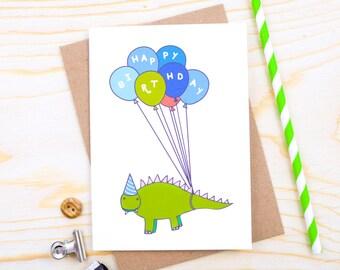 Dinosaur Birthday Card - Happy Birthday Card - Card for Boy - Card for Son - Happy Birthday Card for Boy - Birthday Card for Son - Balloons