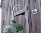 "Vintage 12"" Round Dome Green Porcelain Wall Light Gas Station Industrial Barn"