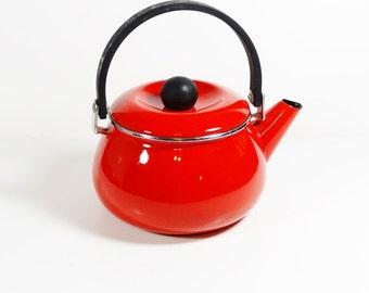 Vintage Bright Red Metal Tea Kettle