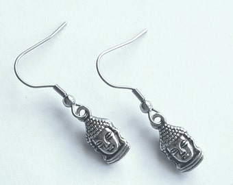 Silver Buddha Earrings with Stainless Steel Earwires - Tibetan Silver