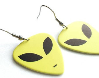 Alien Guitar Pick Earrings with Stainless Steel Earwires - UFO - Outer Space