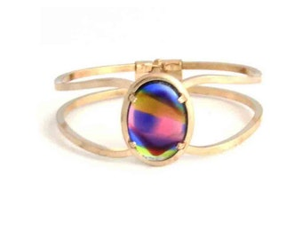 Vintage Rainbow Cabochon on  Gold Hinged Bracelet