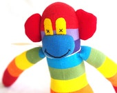 Sock monkey, sock animal, soft plush toy monkey. Mitch Monkey.