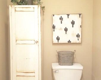 Black cactus print rustic wood sign