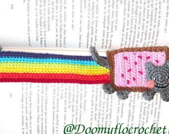 Nyancat bookmark crocheted coton made for geeks
