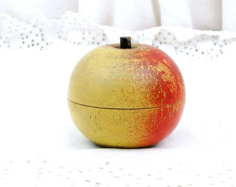 Vintage French Wooden Apple Shaped Box / Retro Vintage Home Interior / Toy / Child Fruit / Gift / Jewelry Box Red Yellow / Mid Century