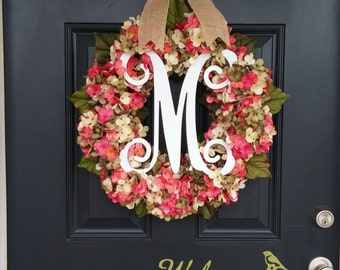 Hydrangea Wreath Monogram Wreath, Spring Wreath, Summer Wreath, Housewarming Gift, Mother's Day Gift, Wedding Decor, Front door wreath