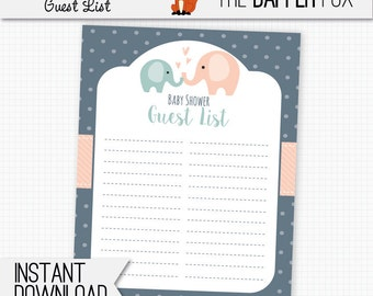 Baby Shower Guest List Navy Elephant   Printable Guestlist   Polka Dot Baby  Boy Girl Navy  Baby Shower Guest List Template