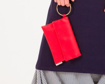 Red Clutch, Evening Bag, Vegan Handbag, Clutch Purse, Wallet Phone Case, Faux Leather Clutch, Red Purse