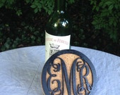 "Monogram Coasters, Custom Coasters, Personalized Coasters, Wine Bottle Coasters, Mr and Mrs  - 6"" Cork and Wood"