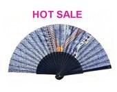 "HAND FAN eventail abanico - summer fashion accessory - denim print - ""Zip It"" - free shipping"