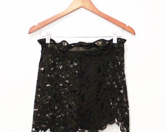 Sheer Lace and Silk Chiffon High Waisted Lingerie Shorts