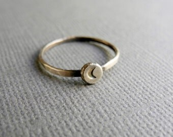 Crescent Moon Ring, Oxidized Recycled Sterling Silver, Silver Moon Stacking Ring, Hand Stamped Jewelry, Eco Friendly Ring, Hammered Silver