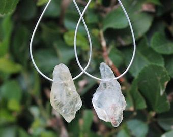 Citrine Crystal Boho Jewelry, Sterling silver minimal Love hoop earrings