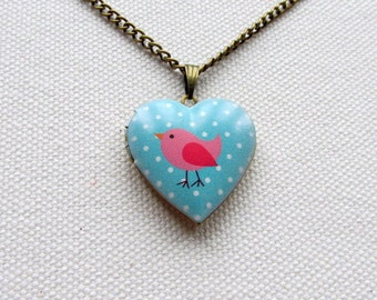 Sparrow Locket Blue Polka Dot Heart Shape Locket Pink Bird Necklace Cute Animal Jewelry Gift for Her