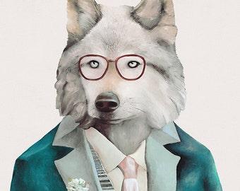 Wolf Art Print, Wolf Illustration, Mr Wolf