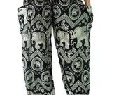 Unisex Harem pants Elephant pants /Hippies pants /Boho pants one size fits Black