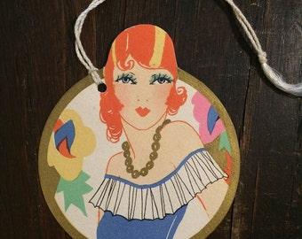 1920s Flapper, Pretty Redhead, Art Deco Die Cut, Bridge Tally Card, Chas S Clark, Vintage Card, Antique Tally