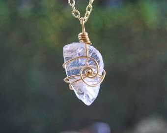 clear seaglass pendant