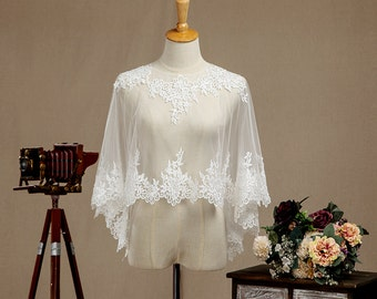 Vintage Ivory Embroidered Lace Wedding Shawl, Bridal Wrap, Bridal Wedding Scarf, Lace Bridesmaid Shawl