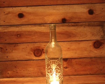 Lantern Fox Day of the Dead - Clear (Stand & Candle Included) Home Decor, Eco Friendly, Hostess Gift, Wine Party