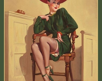 Fridge Magnet, The Verdict was Wow! pin-up art, lady in green dress, red hat, trial, jury, judge, lawyer, law interest