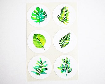 "Tropical Stickers. Green Leaves Stickers Labels Seals. 1.5"" Round Stickers. Birthday Invitations Favors Labels. Once Upon Supplies"