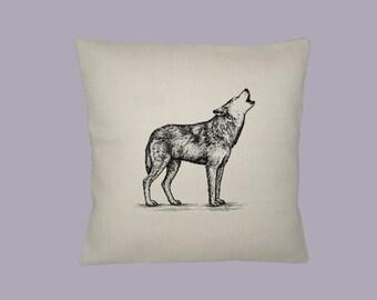 Howling Wolf Illustration 16x16 HANDMADE pillow slip - choice of fabrics