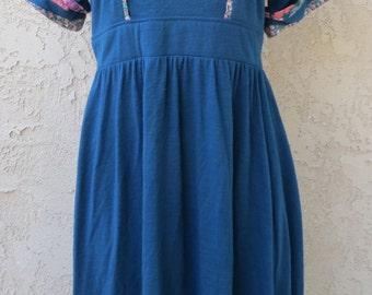 Vintage 1970's blue acrylic knit patchwork trim short sleeve maxi dress sz 7 boho romantic