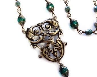 Royal Emeralds necklace bronze statement necklace green necklace emerald  necklace
