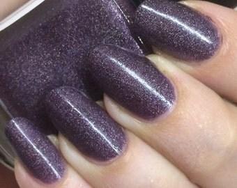 Selina Nail Polish - dusty purple scattered holo