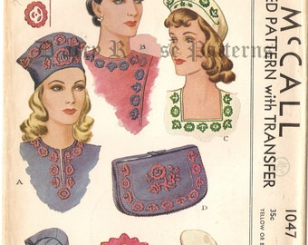 McCall 1047 Vintage 1940s Russian Style Embroidered Hats and Bags Sewing Pattern