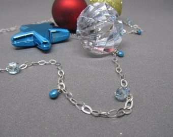 Blue Pearl and Czech Glass Necklace