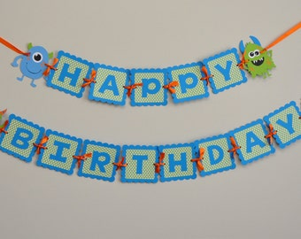 Monster Bash Banner, Monster Happy Birthday Banner, Monster Party Banner