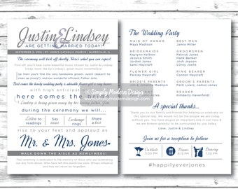 modern, fun double sided wedding program, unique wedding program, wedding fan, program fan, PRINTABLE or PRINTED PROGRAMS
