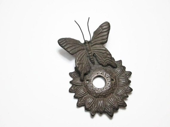 Vintage Doorbell Cover Metal Butterfly On Sunflower Decorative