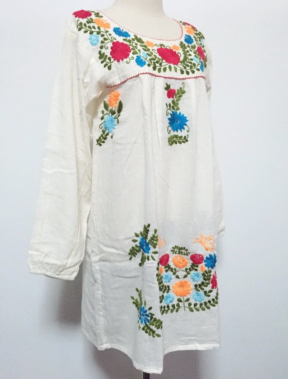 Embroidered mexican dress cotton tunic boho