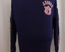 Vintage 80s Auburn University Football Blue Long Sleeve Tshirt Size XL.