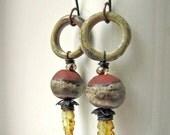 Leaf Litter - rustic grey green earrings w/ artisan ceramics and glass; earthy grungy earrings, primitive earrings, assemblage earrings