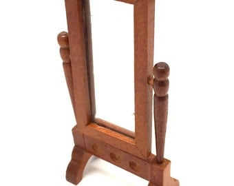 Dollhouse,Furniture, Standing Mirror, Dressing Room, Wood,Shackman & Co, Miniature, 1:12 Scale, 1970's