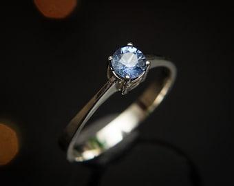 Blue Sapphire Engagement Ring Ceylon Sapphire Ring , Blue Sapphire Ring , 14K White Gold Sapphire Ring, Ceylon Blue Sapphire Ring