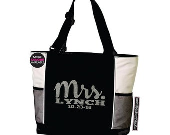 MRS Tote Bag. With Last Name and Wedding Date. Wedding Tote. Wedding Bag. Bridal Shower Gift. Bridal Tote. Anniversary Tote. Honeymoon Tote.