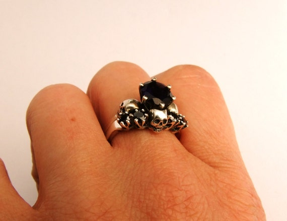 Skull Wedding Ring, Skull Wedding Set, Skull Anniversary Ring, White Gold Bridal Set, Goth Wedding Set, Rock n Roll Engagement Set